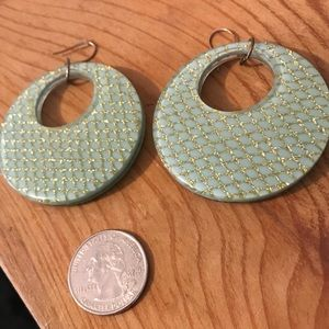 Vintage disco Mint/gold trellis large Earrings